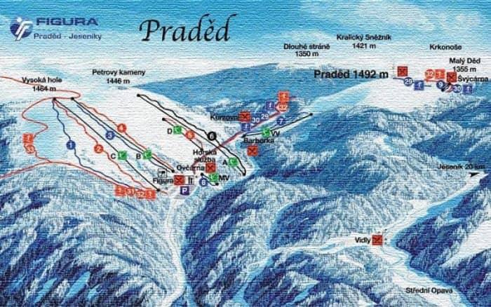 Схема катания на курорте Прадед