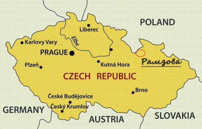 Горнолыжный курорт Рамзова на карте Чехии
