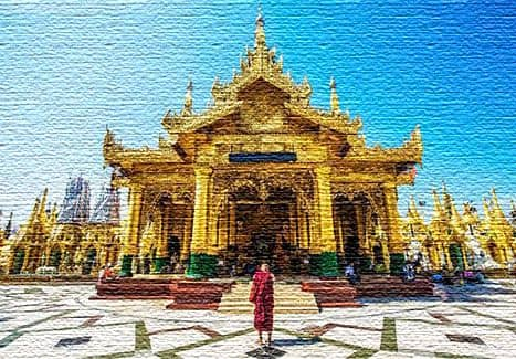 Полюбуйтесь буддистским храмом Пагода Шведагон в Рангуне, Бирма