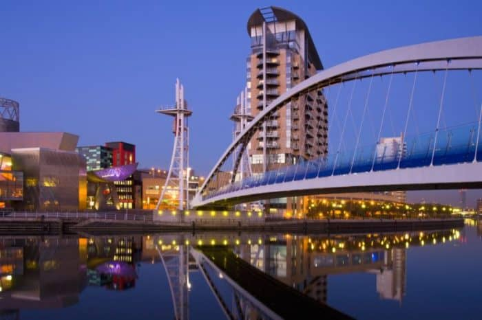 The Millennium Bridge & Lowery Centre in Manchester in England